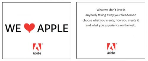"Campagne publicitaire Adobe ""We heart Apple"""