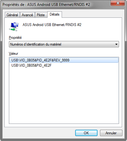 Identificateurs USB Asus TF101