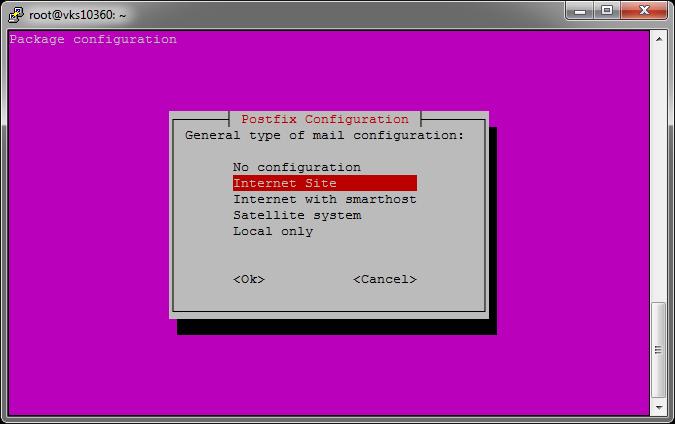 Installation de postfix
