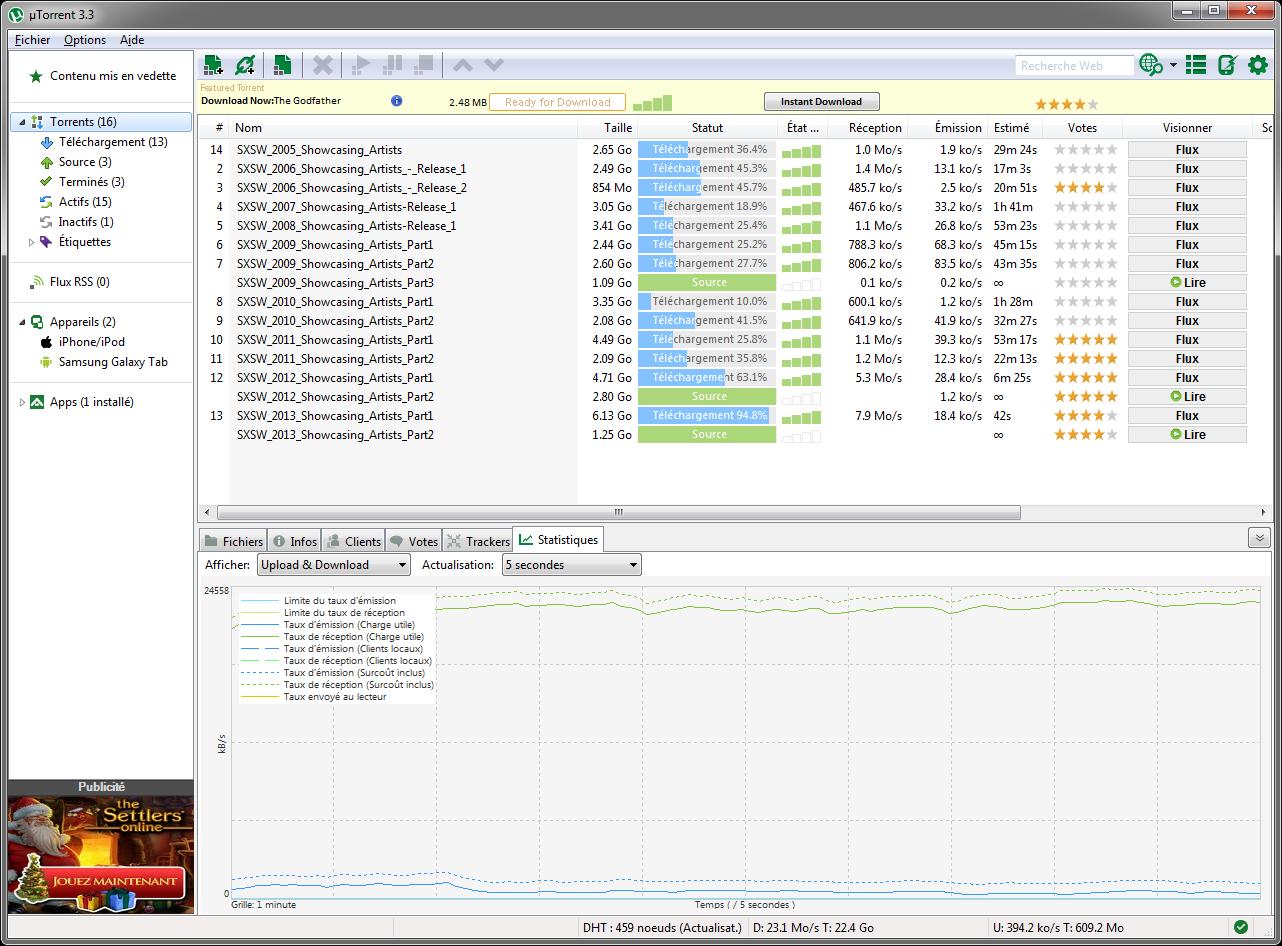 Téléchargement via BitTorrent : régime de croisière