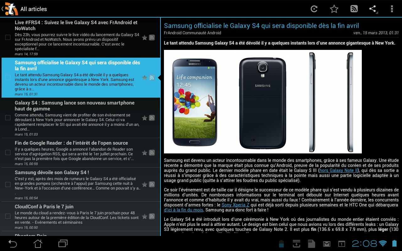 Interface tablette Android de Tiny Tiny RSS