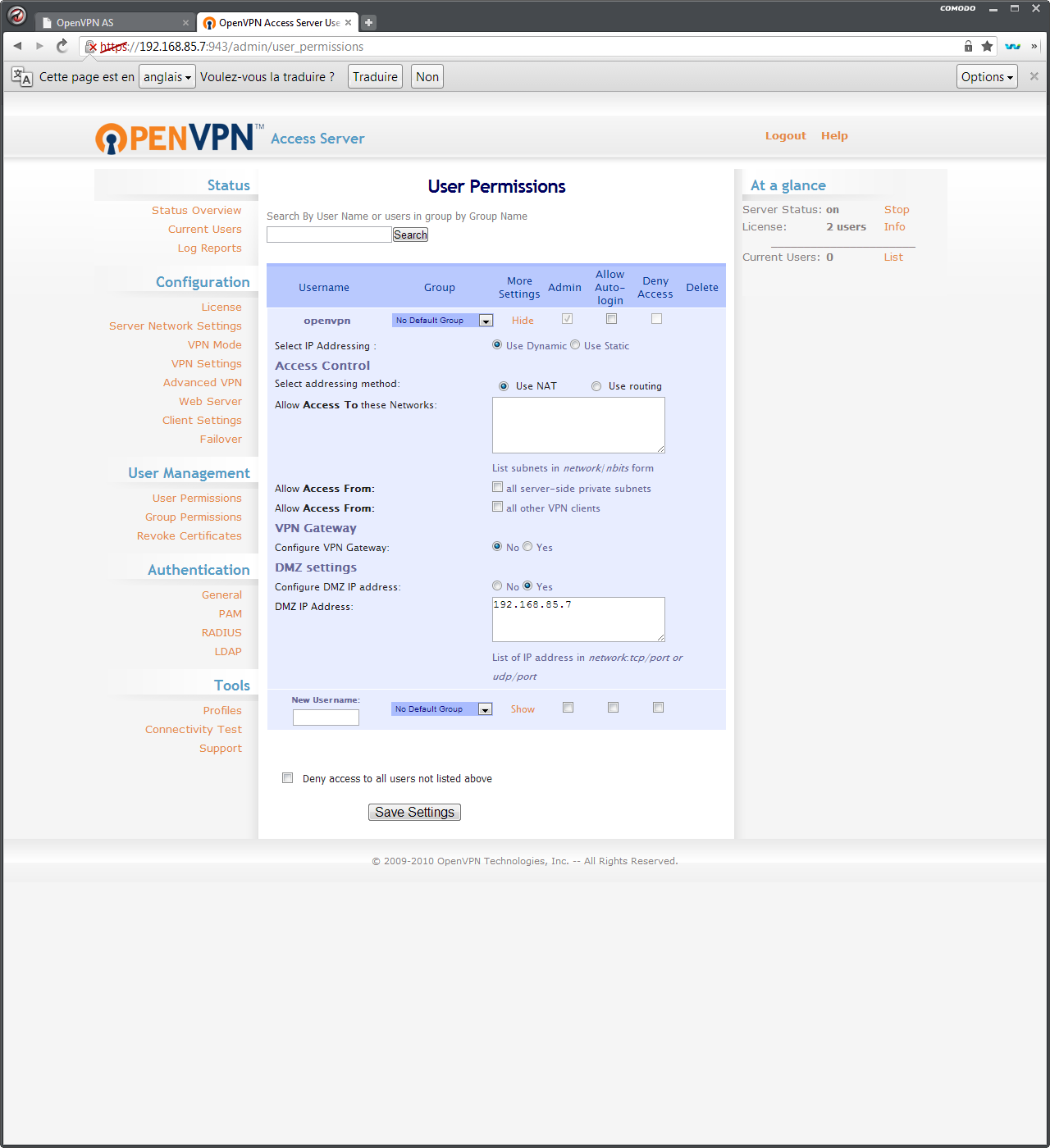 OpenVPN AS : configuration d'un utilisateur