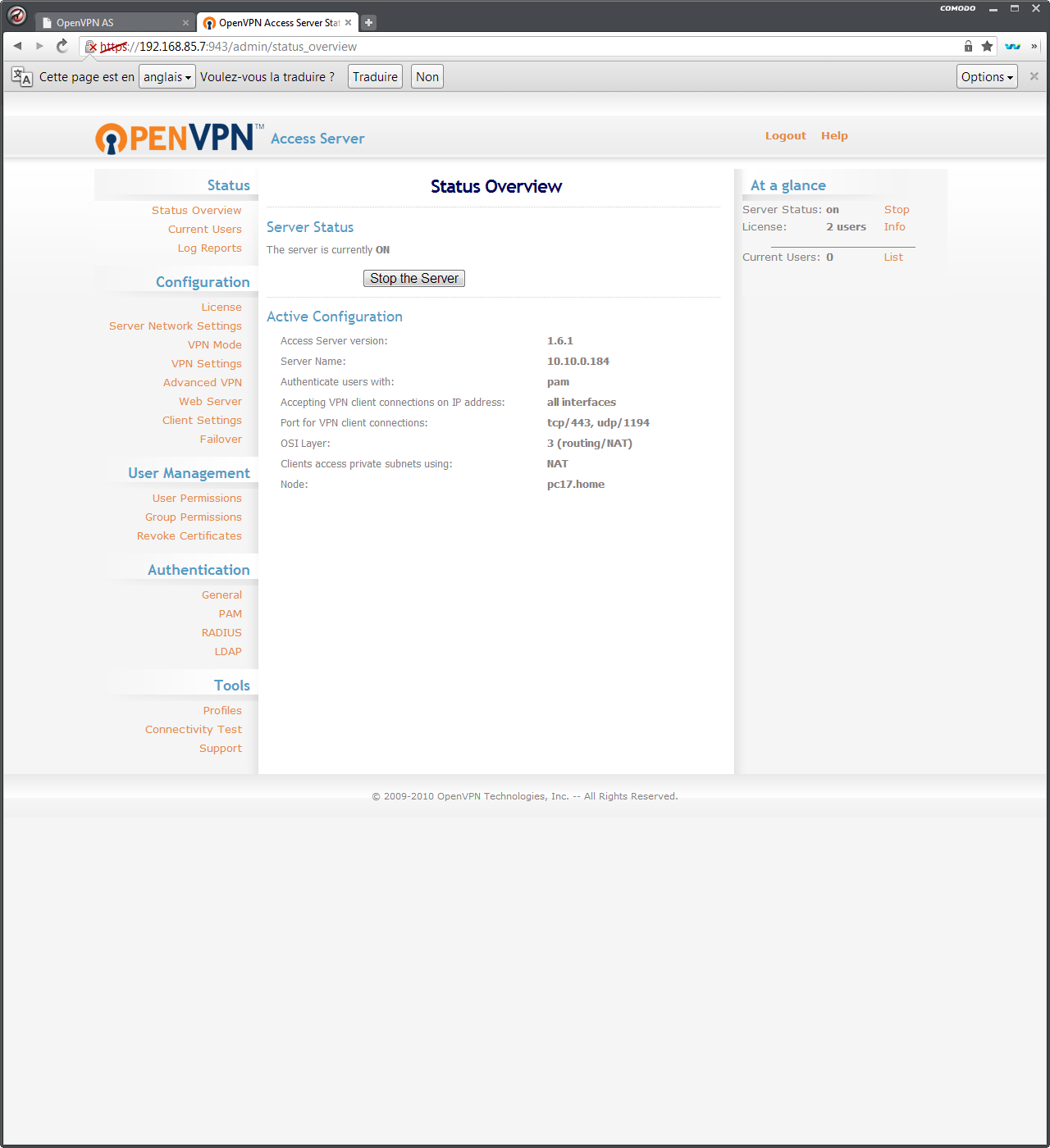 OpenVPN AS : administration web