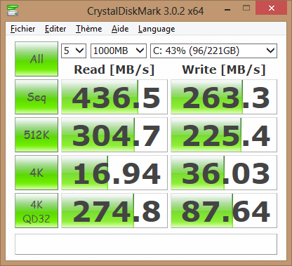 Dell XPS 13 : performance du SSD