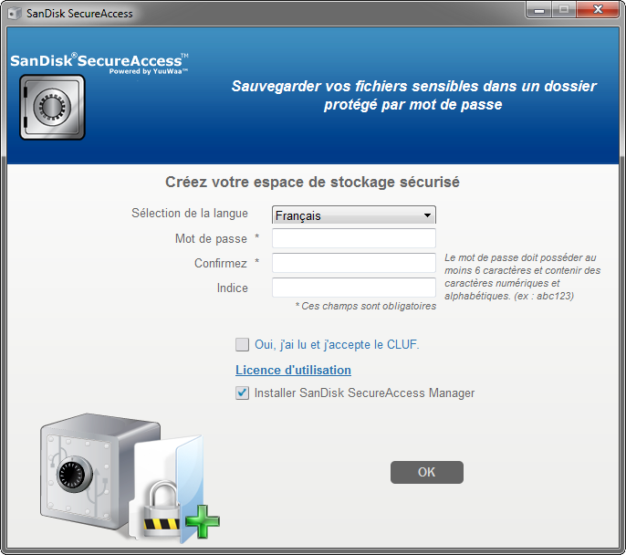 SanDisk SecureAccess : initialisation du coffre-fort