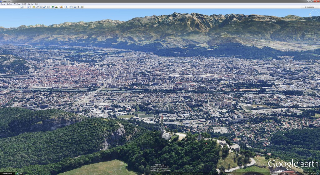 Le bassin grenoblois vu dans Google Earth