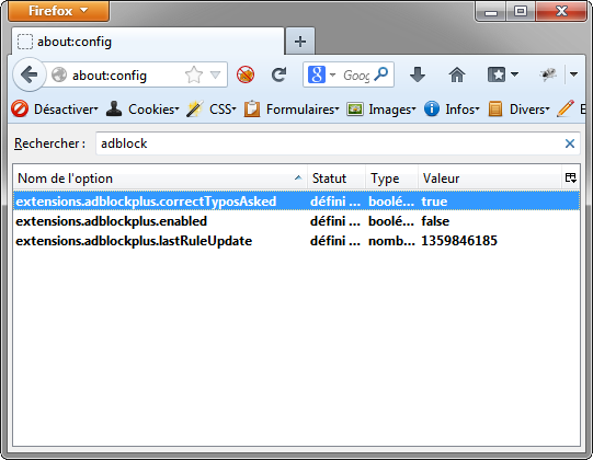 Firefox : about:config