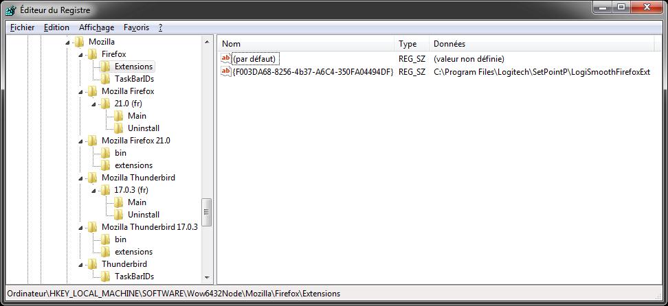 Firefox : extension en base de registre