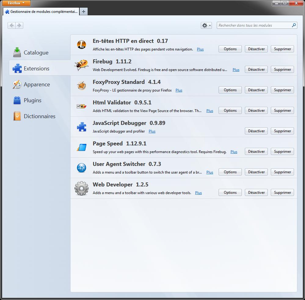 Firefox : gestionnaire d'extensions