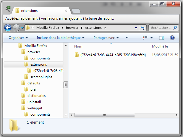 Firefox : répertoire des extensions globales