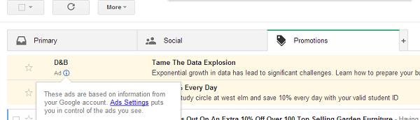 Mails publicitaires dans Gmail