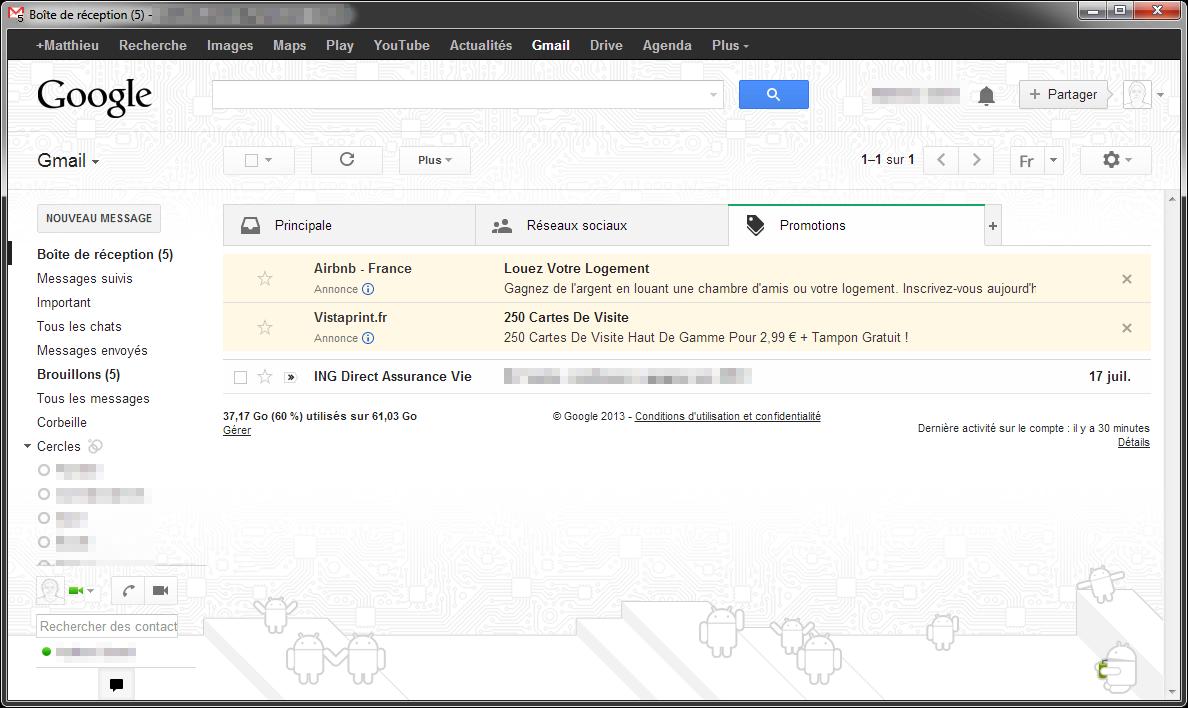 Promotions dans Gmail