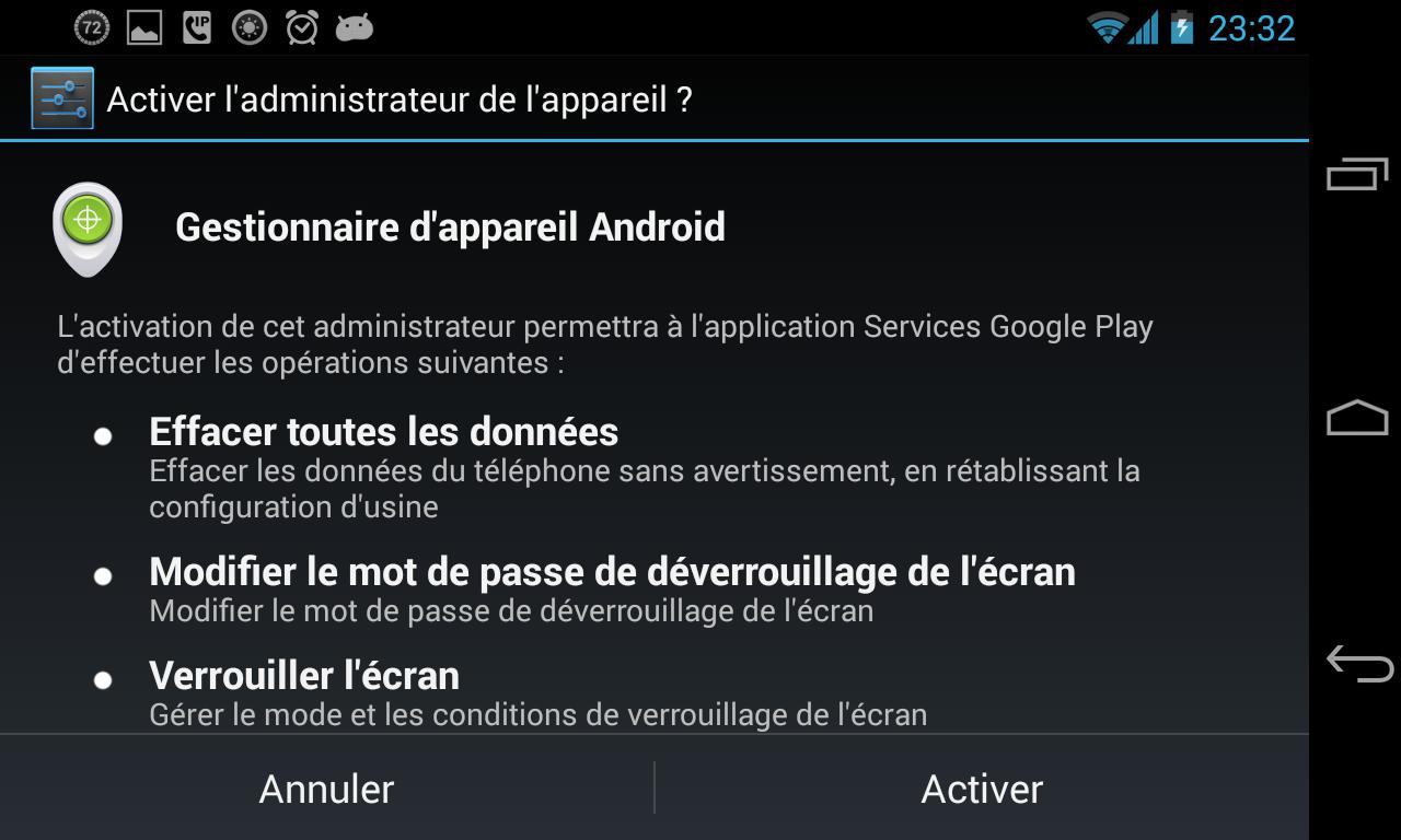 Gestionnaire d'appareil Android