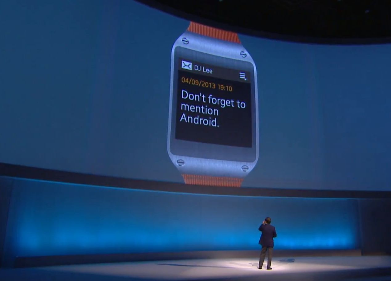 "Présentation Samsung Galaxy Gear : ""Don't forget to mention Android."""