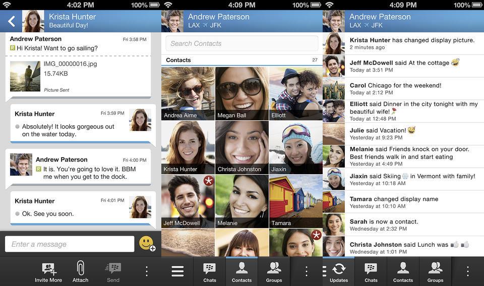BlackBerry Messenger sur iOS