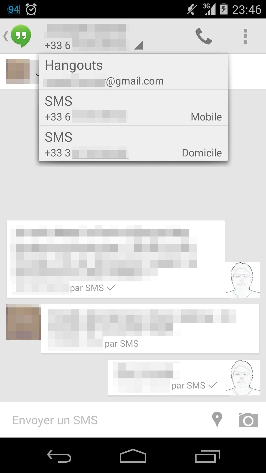 Les SMS dans Hangouts