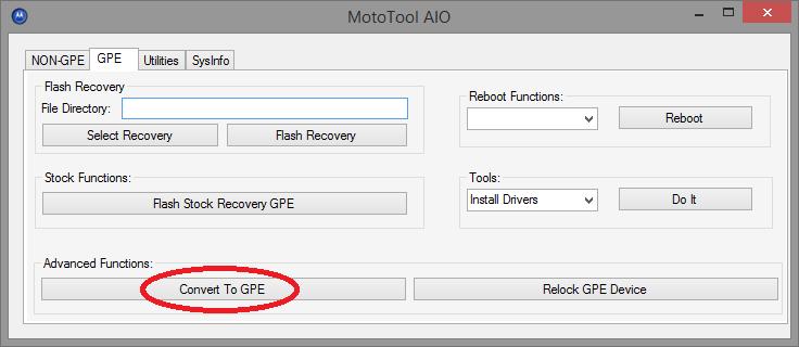 Conversion Google Play Edition avec Moto Tool