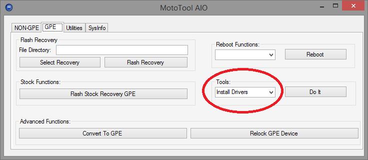 Installation des drivers avec MotoTool
