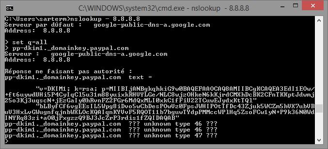 Exemple d'entrée DNS contenant une clé DKIM