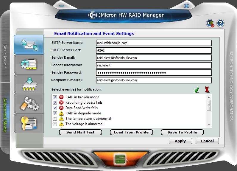 Configuration des alertes par e-mail