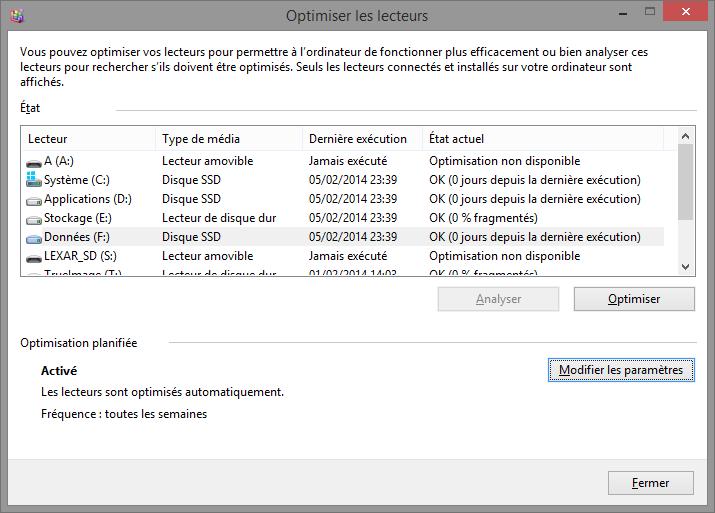 Défragmenteur de disque Windows 8