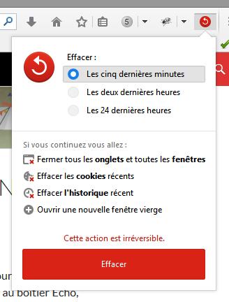 Effacement des données de Firefox 33.1