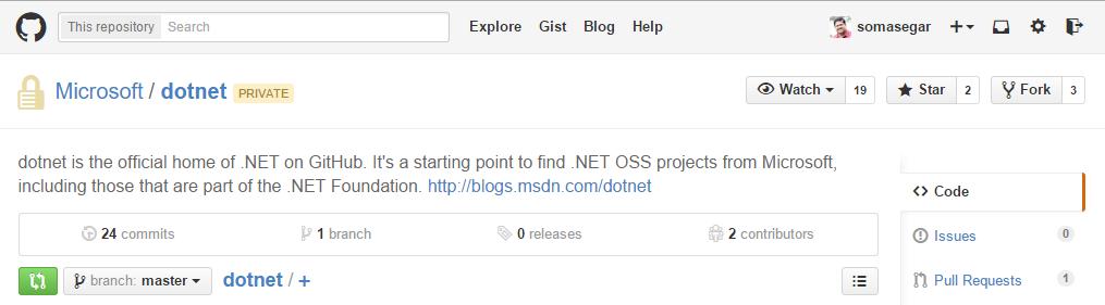 .NET sur GitHub