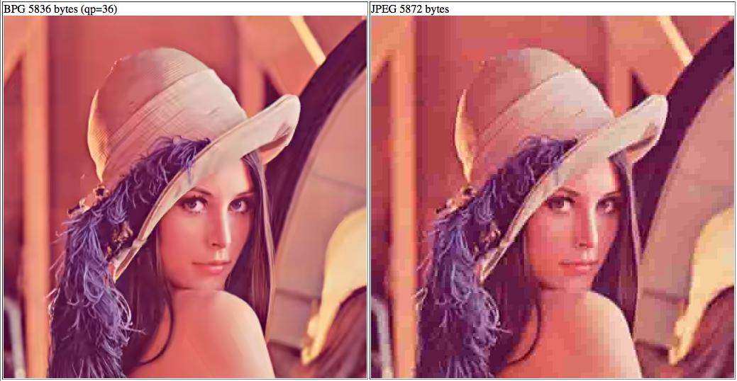 Lena, carrément plus jolie en BPG (gauche) qu'en JPEG (droite)