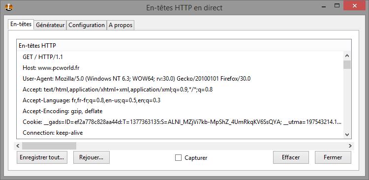 Exemple de requête HTTP vers pcworld.fr