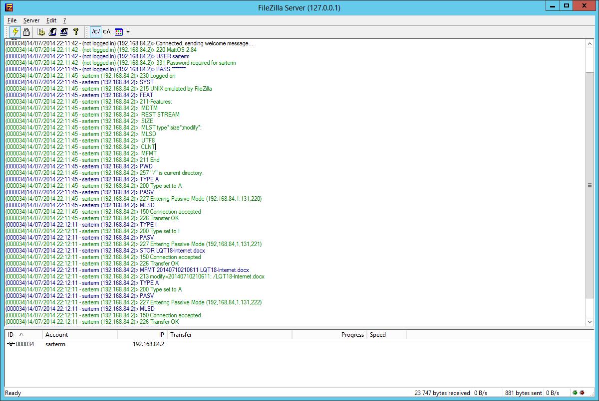 Exemple de session FTP, en bleu les requêtes du client, en vert les réponses du serveur