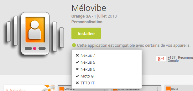 Mélovibe incompatible avec le Nexus 6 ?