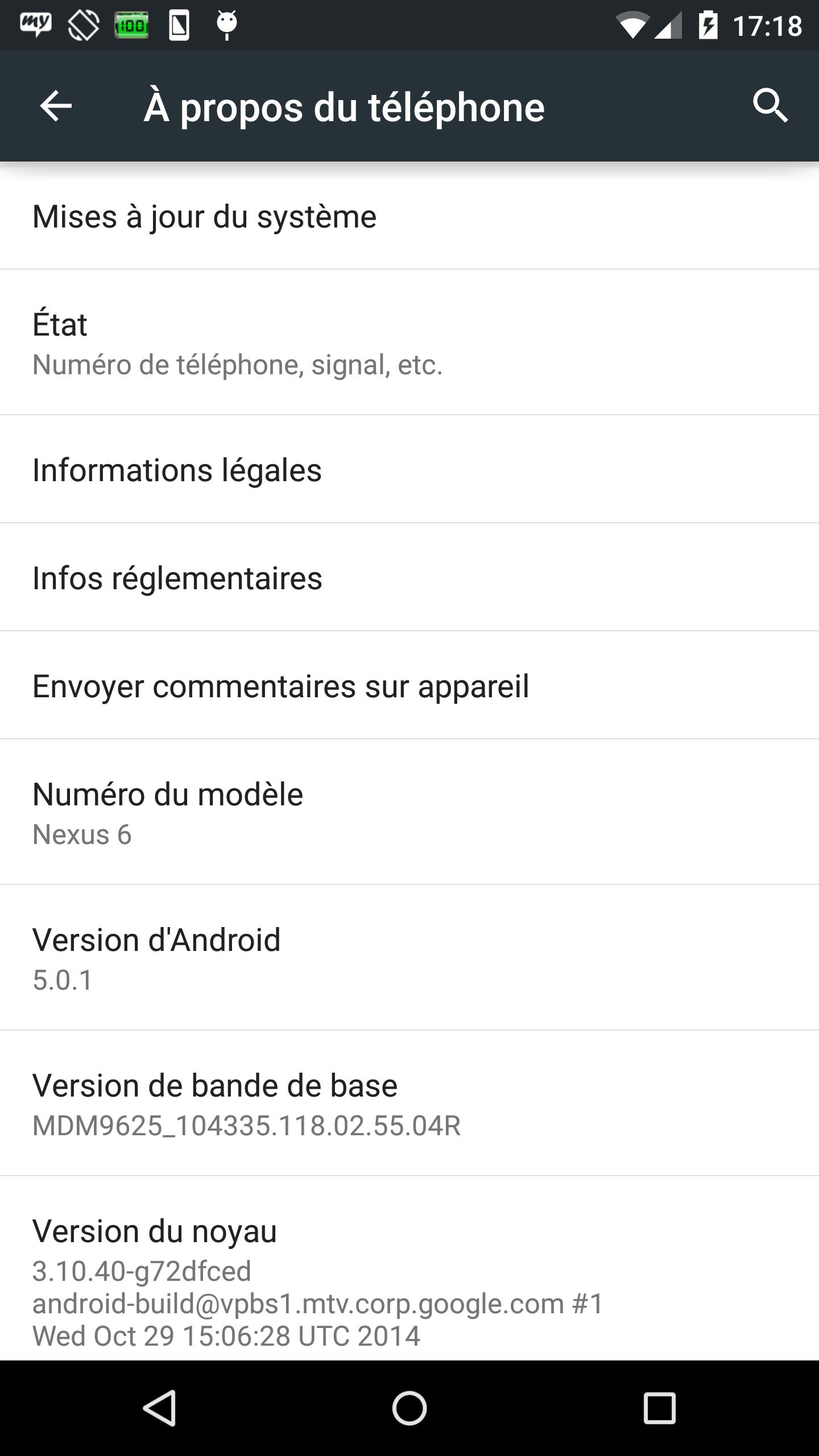 Nexus 6 sous Android 5.0.1