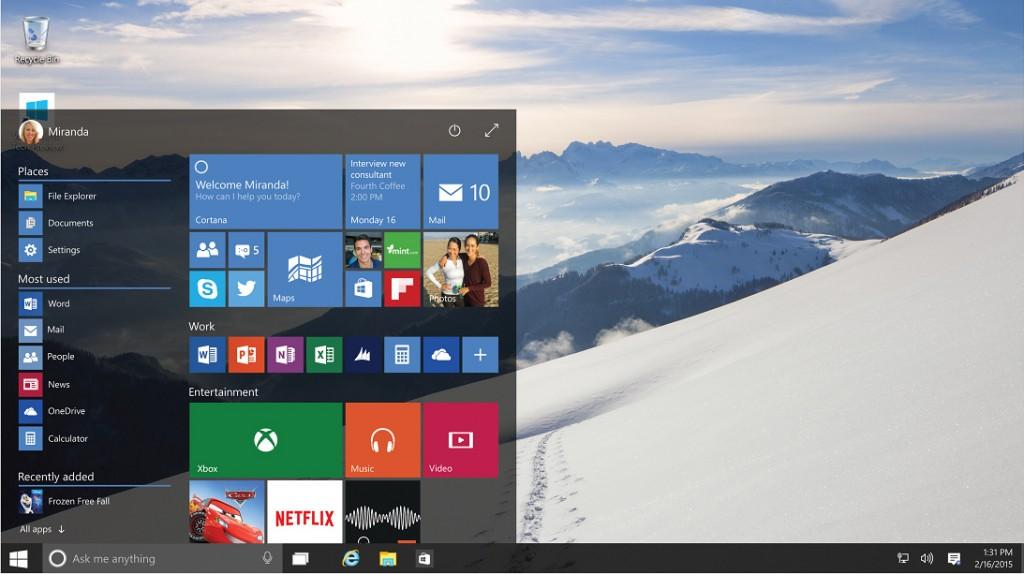 """Le nouveau """"menu démarrer"""" de Windows 10"""