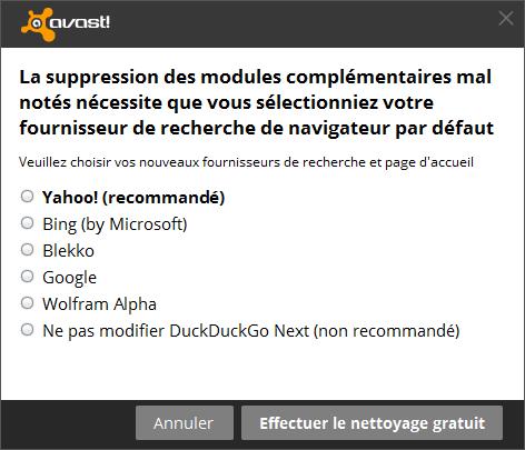 Moteurs de recherche proposés par Avast