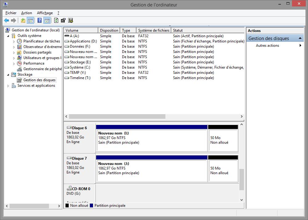 Un RAID1 repassé en JBOD : on retrouve le partitionnement et les données