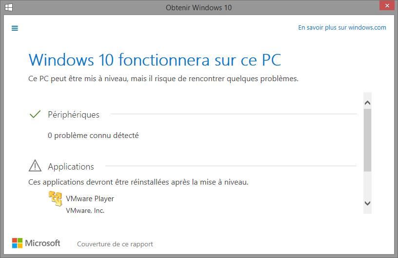 Test de compatibilité Windows 10