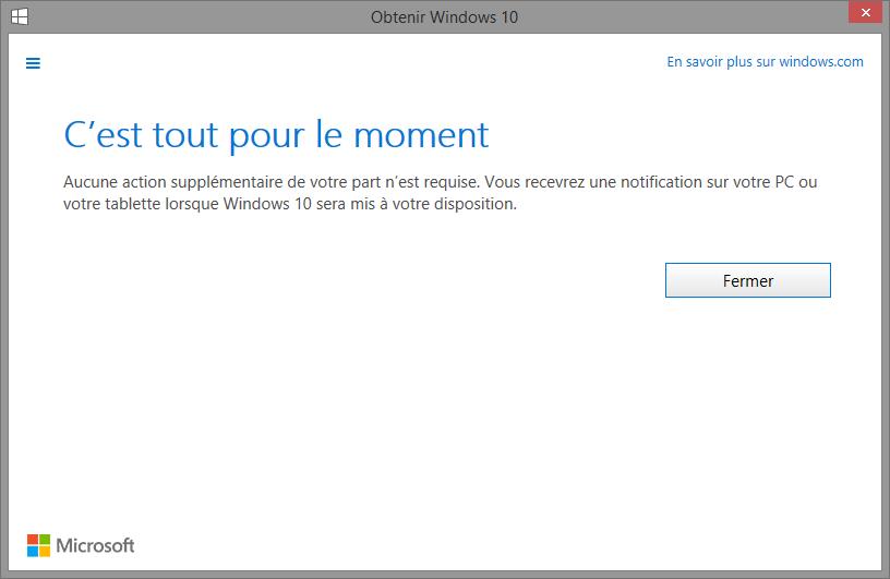 Confirmation de réservation Windows 10