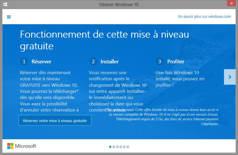 Mise à niveau Windows 10