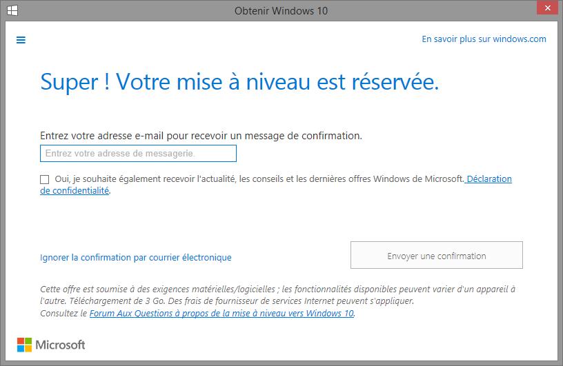 Réservation de Windows 10