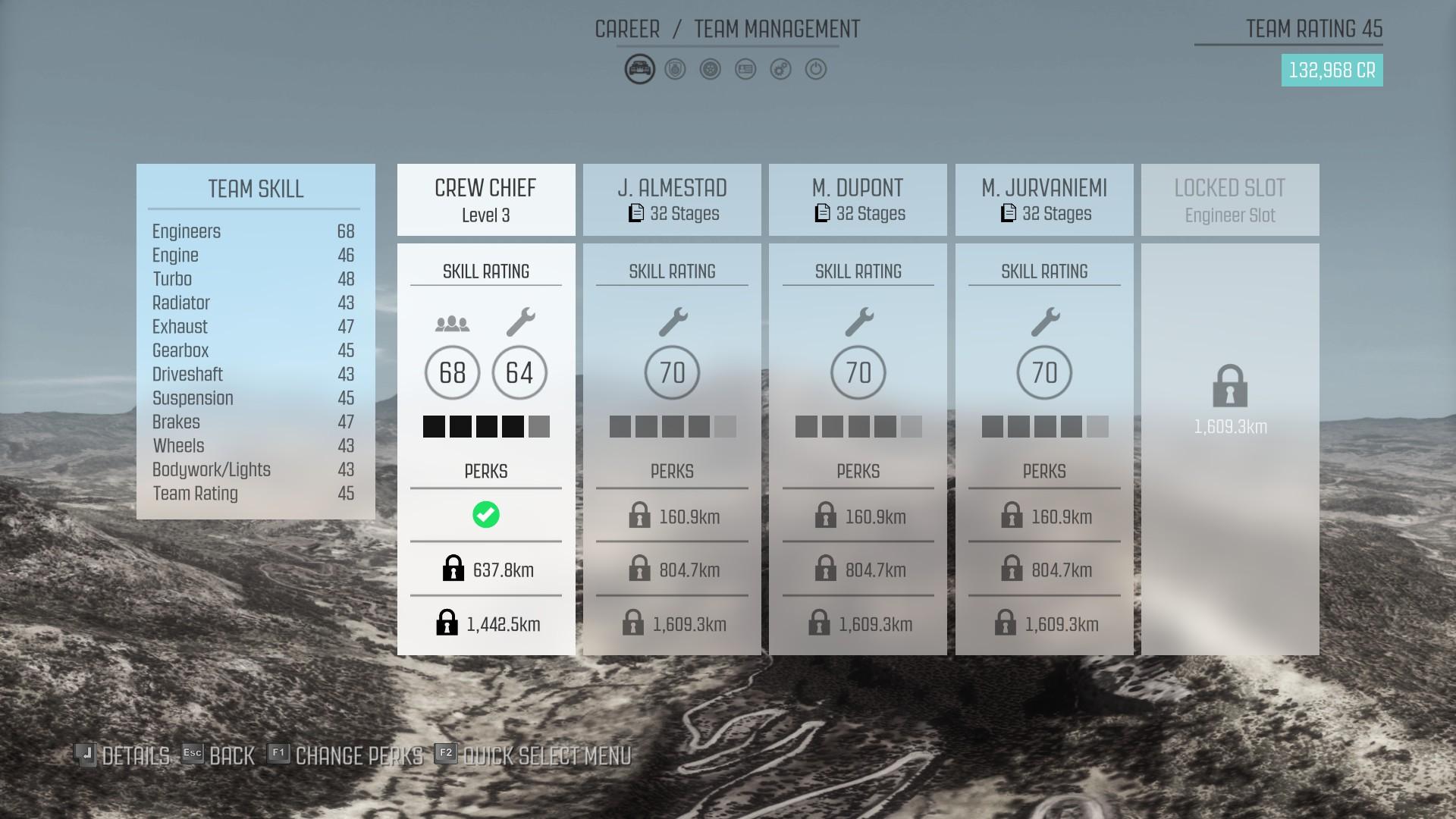 DiRT Rally : gestion de l'équipe