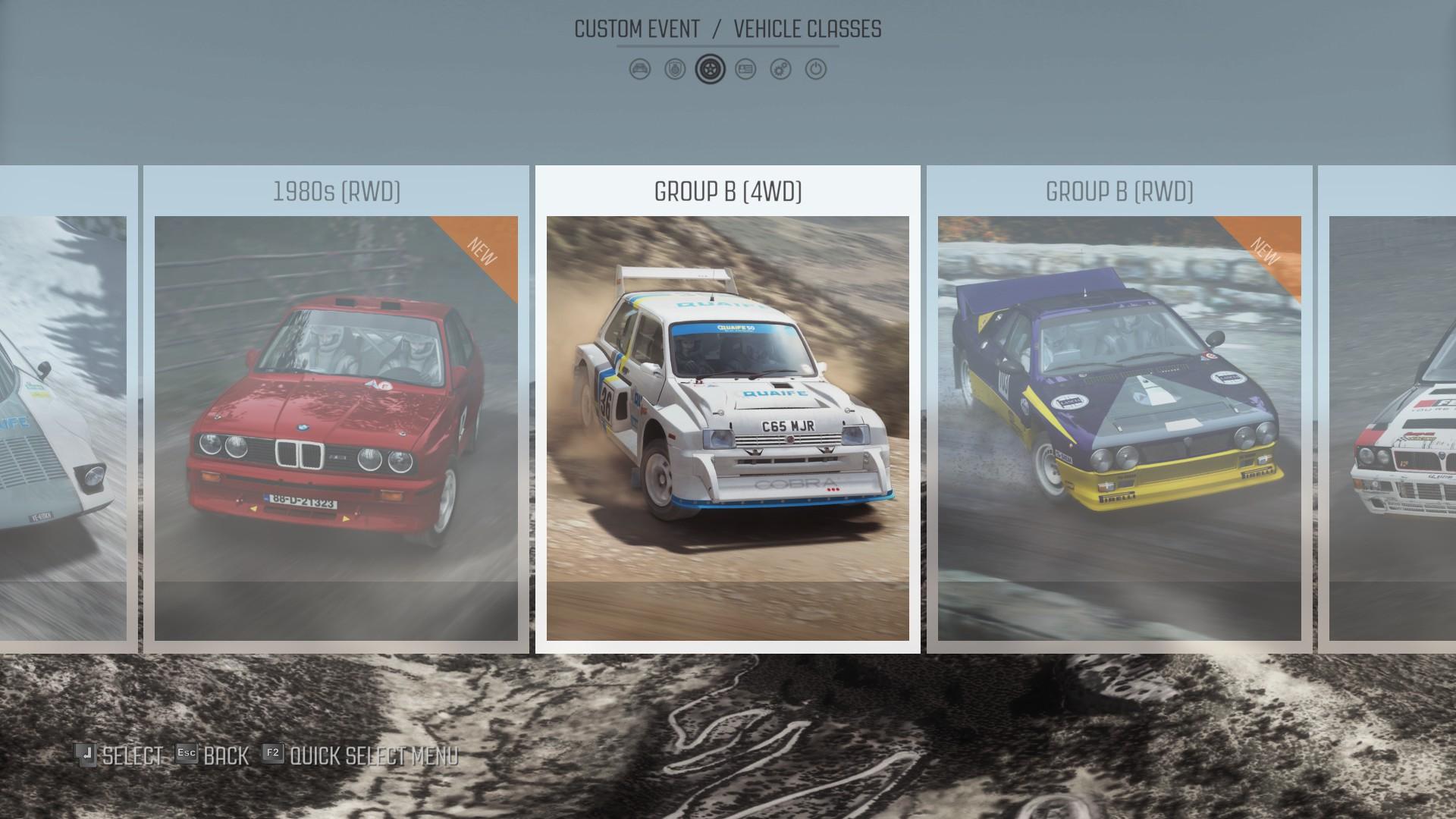 DiRT Rally : les catégories de voitures