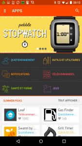 Applications Pebble sous Android : catalogue des applications