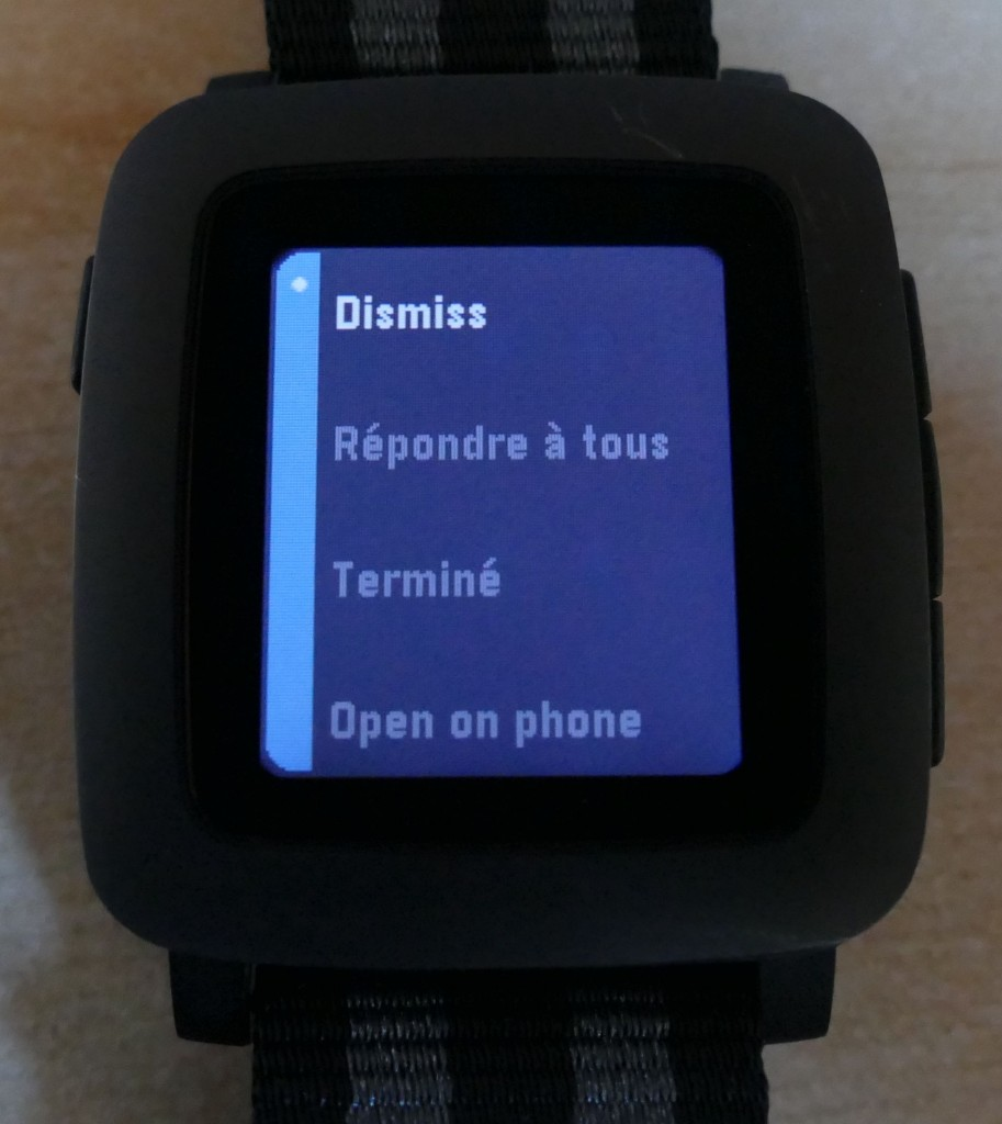 Pebble Time : les actions sur une notification de mail