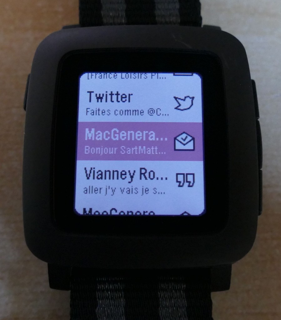 Pebble Time : liste des notifications