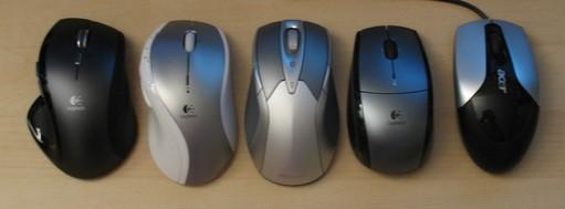De gauche à droite : Logitech MX Revolution, Logitech MX 600 Mac, WED8000, Logitech LX5 et Acer de base