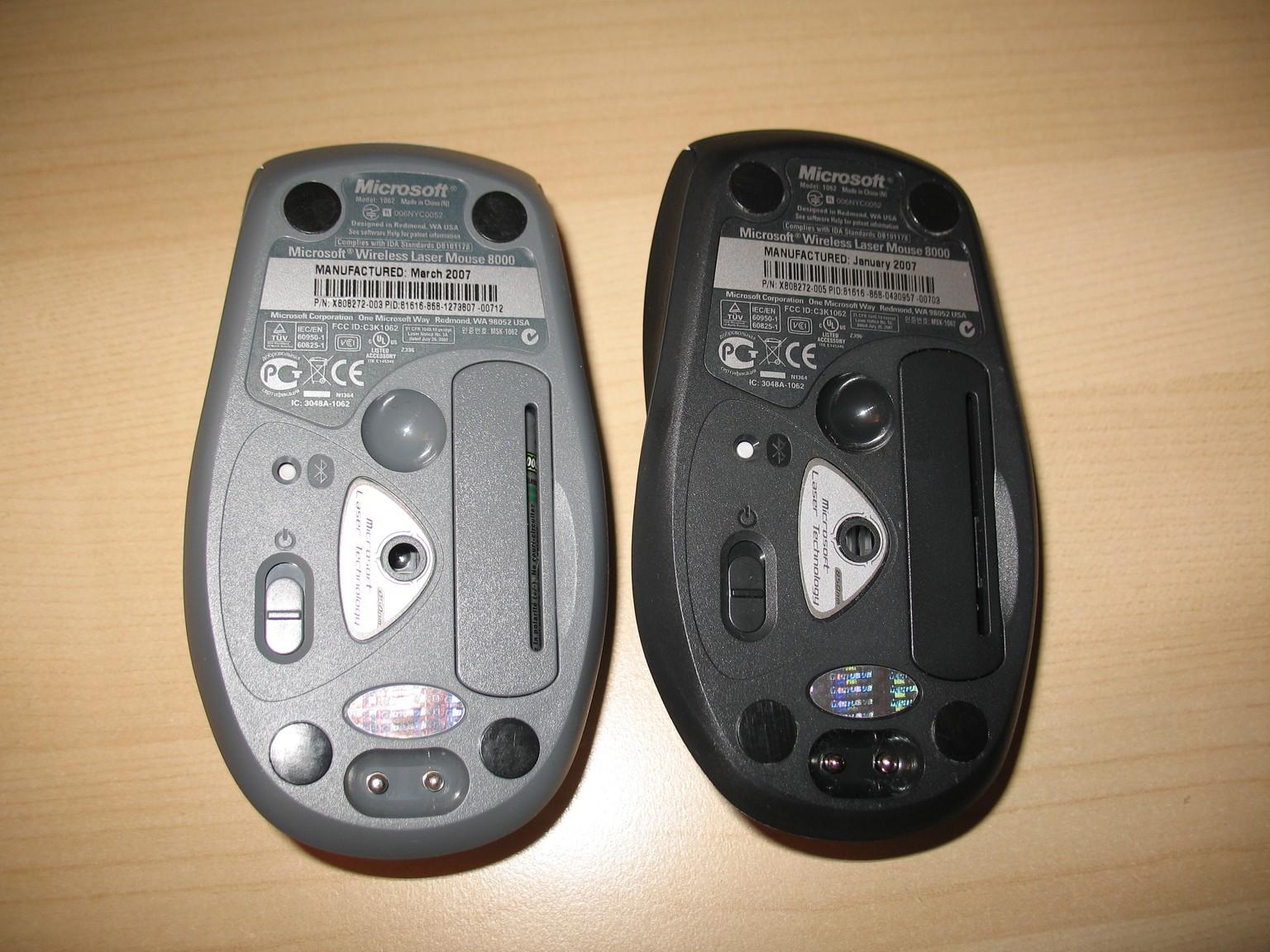 Les souris des WED7000 et 8000