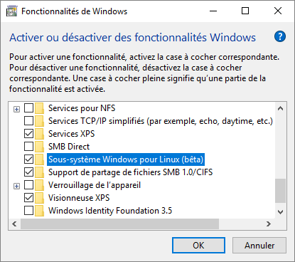 Windows 10 : activation du sous-système Linux