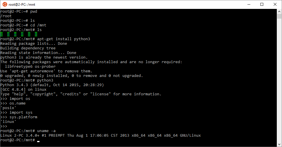 Windows 10 : sous-système Linux