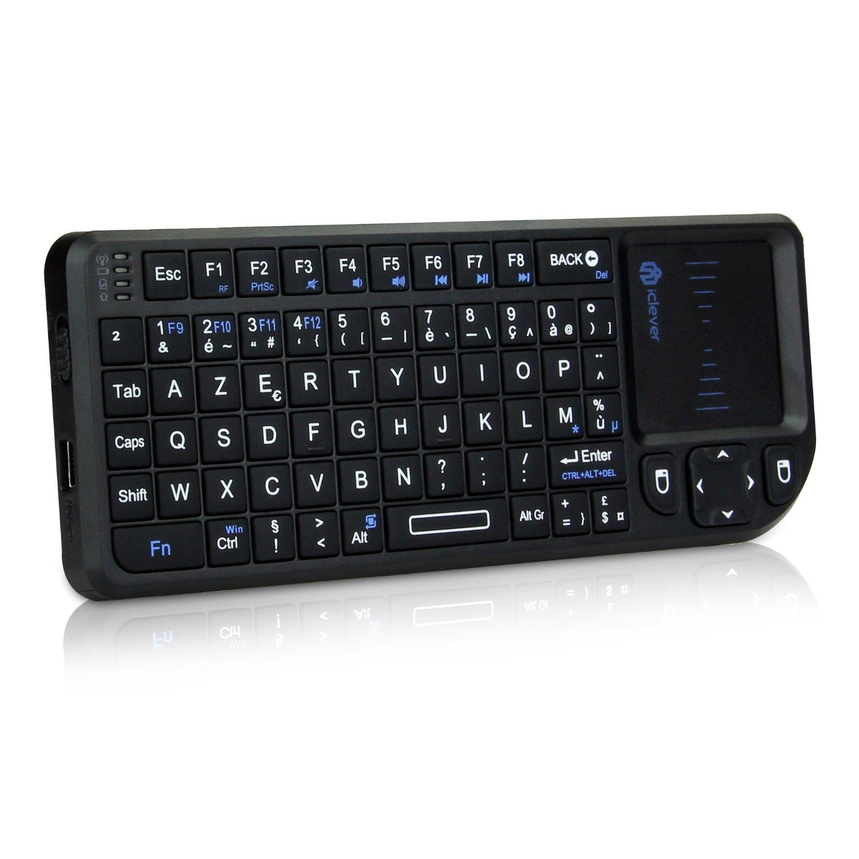 iClever Clavier sans Fil (AZERTY) USB 2,4 GHz avec Touchpad