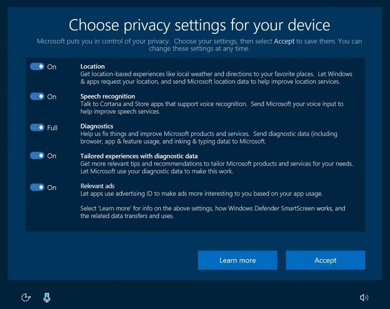 Nouveaux réglages de vie privée de Windows 10